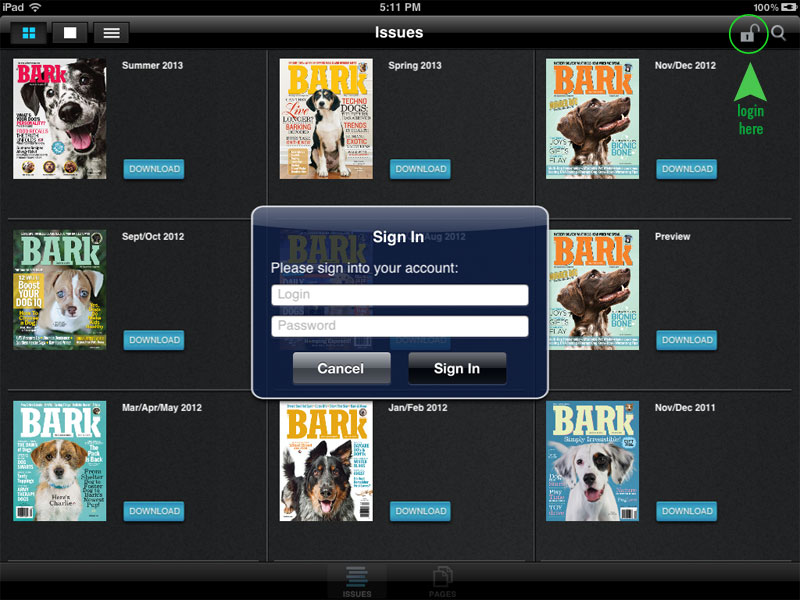 The Bark app, Login, iPad