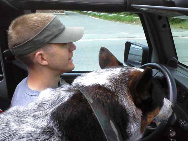Goin' for a ride: Mike (driving) and Mick