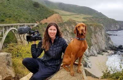 Cinematographer Dana Richardson & Anika with the Pacific Coast Highway in the background.