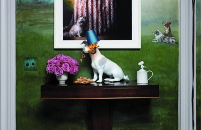 Sheila Bridges' dog-centric room included painted murals inspired by her daily dog walks in Central Park, a dog bathing nook and an array of canine-themed portraits, photographs and mementos.