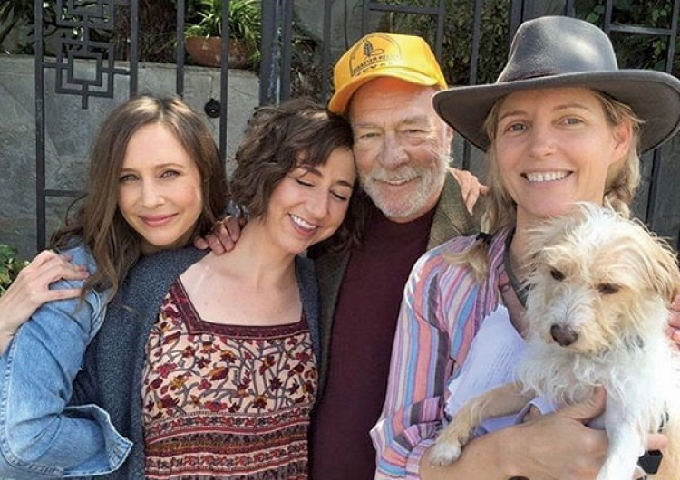 """Boundaries"" film cast, left to right: Vera Farmiga, Kristen Schaal, Christopher Plummer, Shana Feste (director) and Loretta."