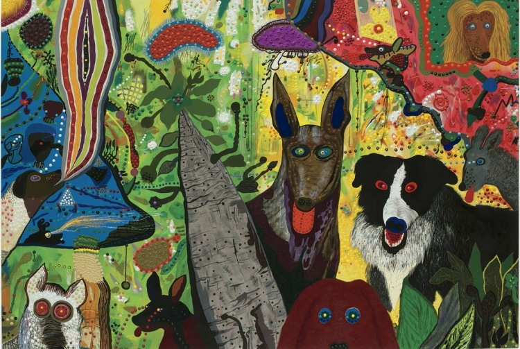 Roy De Forest, Country Dog Gentlemen, 1972; polymer on canvas, 66.75 x 97 in. (169.55 cm x 246.38 cm); Collection SFMOMA, Gift of the Hamilton-Wells Collection; © Estate of Roy De Forest/Licensed by VAGA, New York