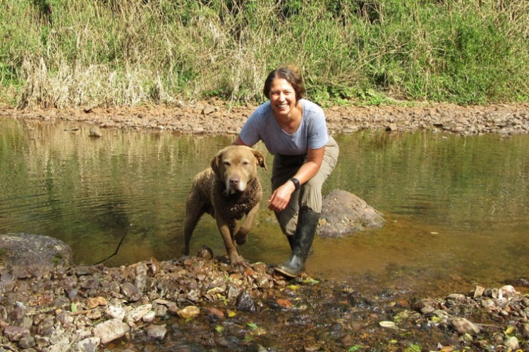 Washington University researcher Karen DeMatteo and her scat-sniffing dog Train are on a mission to preserve jaguars, pumas, bush dogs and other carnivores in the forests of Northeastern Argentina. (Photo: courtesy of Karen DeMatteo/Washington University)