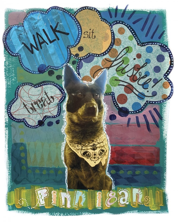 Dog Collage Art by Kimberly Santini