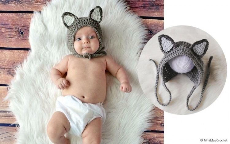 Baby Wolf/ Dog Crochet Hat ©MiniMaeCrochet http://tidd.ly/b18c7458