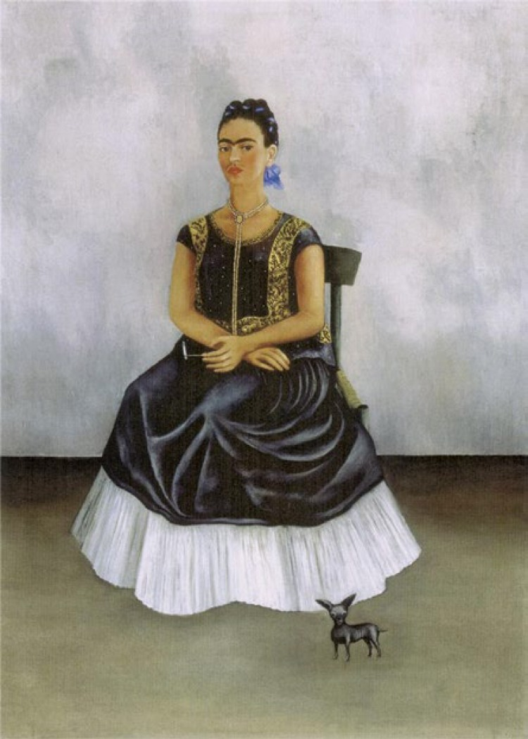 Frida Kahlo Itzcuintli Dog with Me. 1938 Oil on canvas 20.47 x 27.9 inches