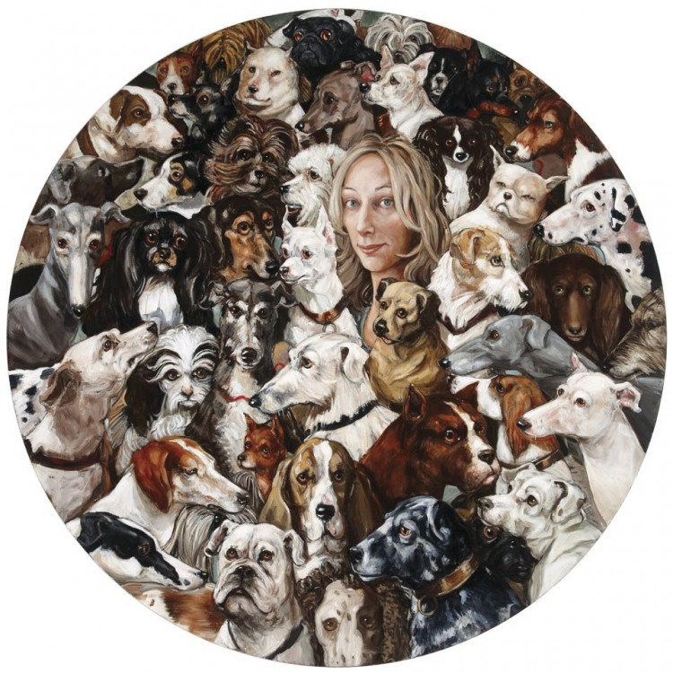 Joanna Braithwaite Canine Council - Self Portrait with Dogs in Art. 2010 Oil on canvas, 78.7 inches in diameter. Collection of the Artist.