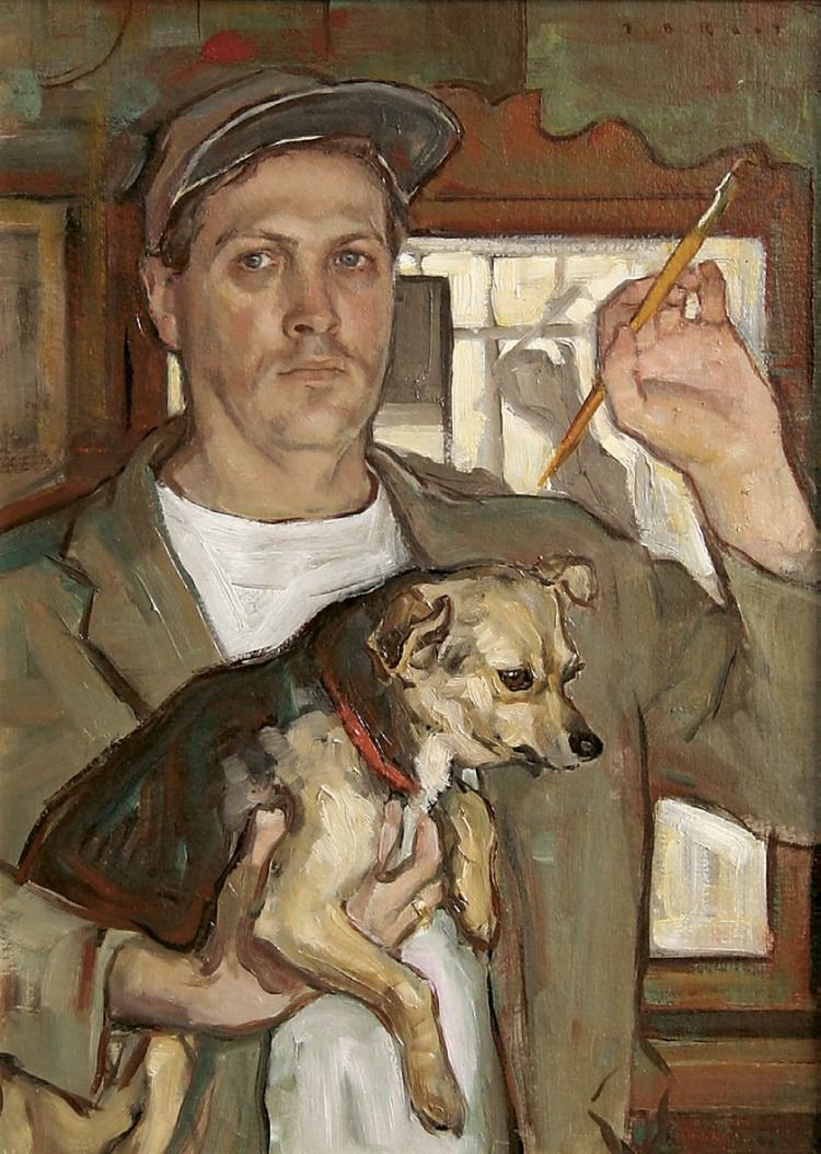 Tom Root, Self-Portrait with Alice 1999, oil on canvas, 24 x 16 inches