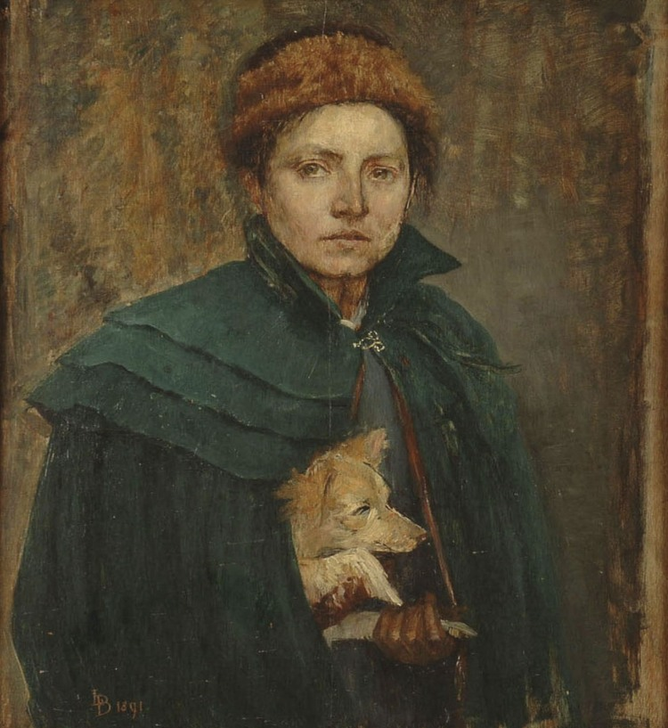 Louise Catherine Breslau (1856-1927) Self Portrait (Autoportrait). 1891 Oil on mahogany wood, 18 x 21.5 inches