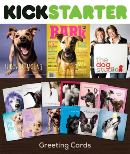 "Longtime Bark contributor Amanda Jones has launched a Kickstarter campaign for her new line of cards, from left to right clockwise: ""Forever Young"" Rudy as stationary and as a Bark cover dog; Melissa and Amanda; The Dog Studio's exciting new card designs."